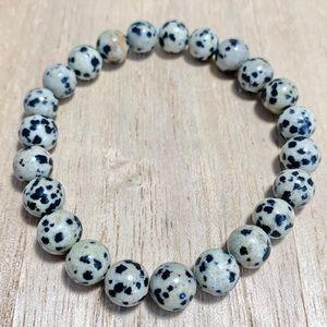 Handmade 8mm Dalmatian Jasper Stretch Bracelet